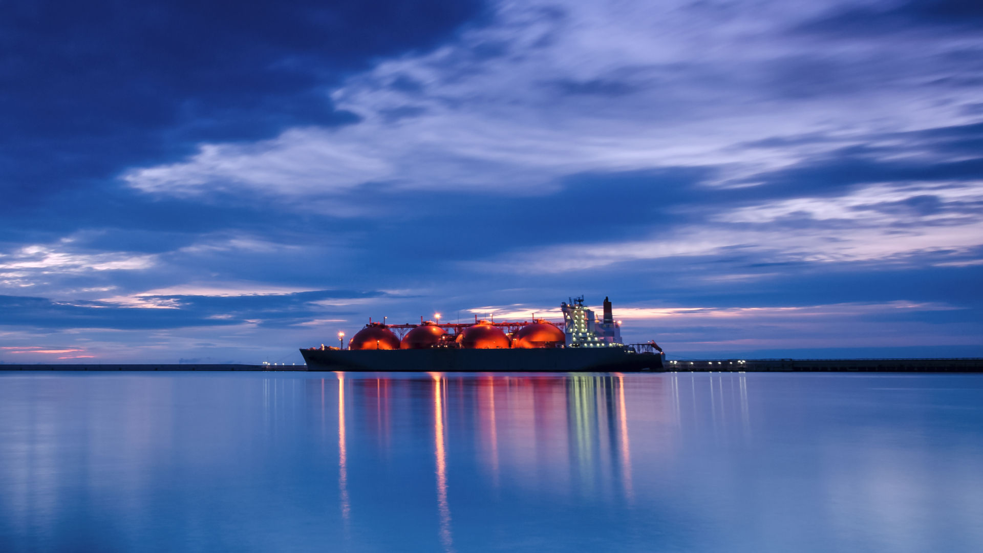 LNG Tanker At Night